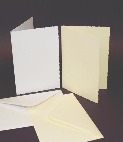 C6 DECKLED EDGE WHITE CARDS AND ENVELOPES.