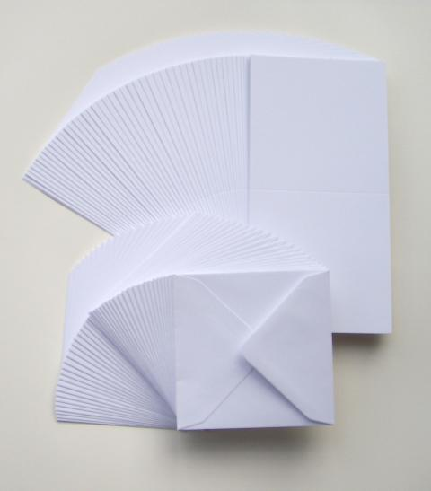 6'X6' WHITE CARDS AND ENVELOPES